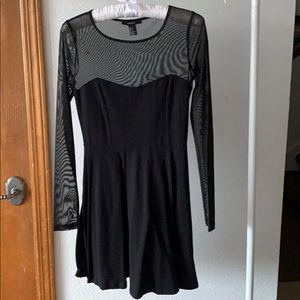 Forever 21 Black Mesh Long Sleeve Dress